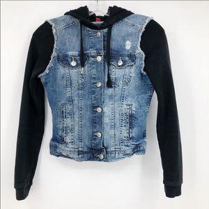 H&M Jean Jacket Hooded Contrast Sleeves 6